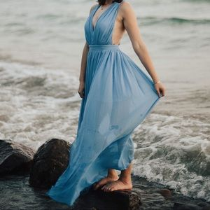 Fashion Nova Blue Twist Dress